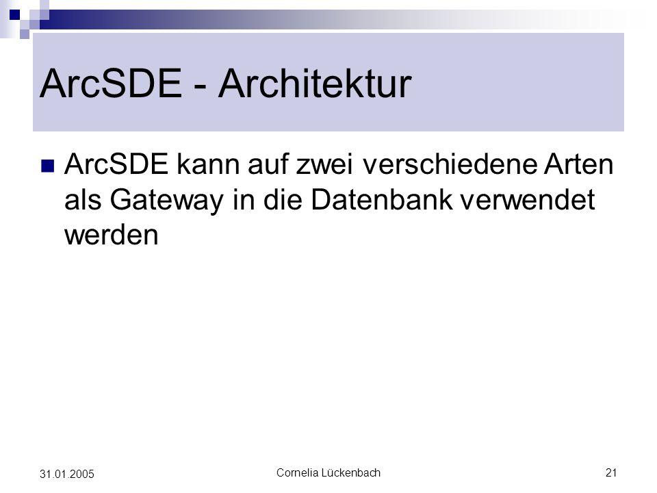 ArcSDE - Architektur ArcSDE kann auf zwei verschiedene Arten als Gateway in die Datenbank verwendet werden.