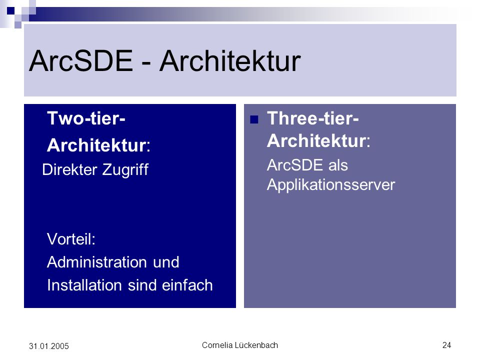 ArcSDE - Architektur Two-tier- Architektur: Three-tier-Architektur: