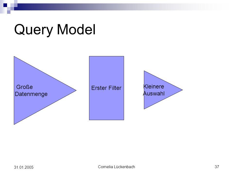 Query Model Erster Filter Große Datenmenge Kleinere Auswahl 31.01.2005
