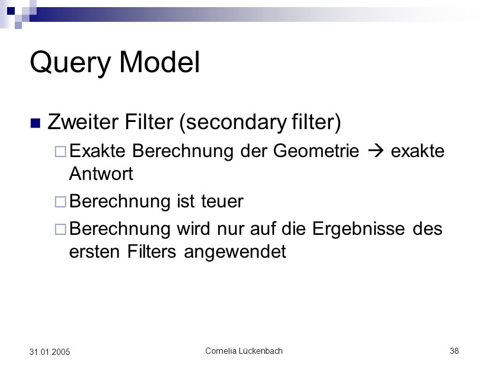Query Model Zweiter Filter (secondary filter)