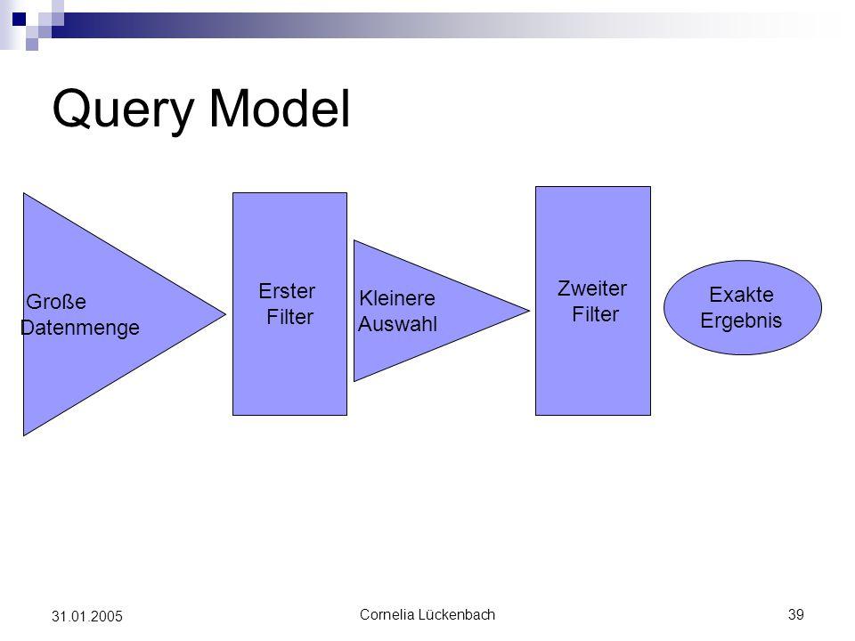 Query Model Zweiter Erster Filter Große Filter Kleinere Datenmenge