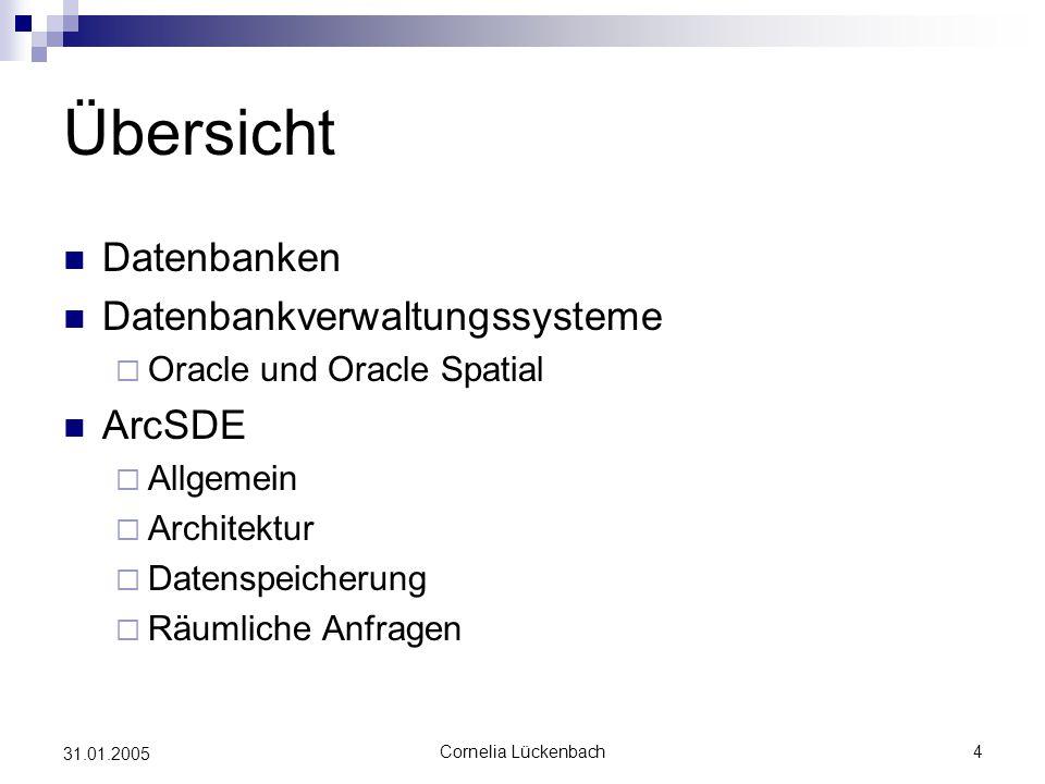 Übersicht Datenbanken Datenbankverwaltungssysteme ArcSDE
