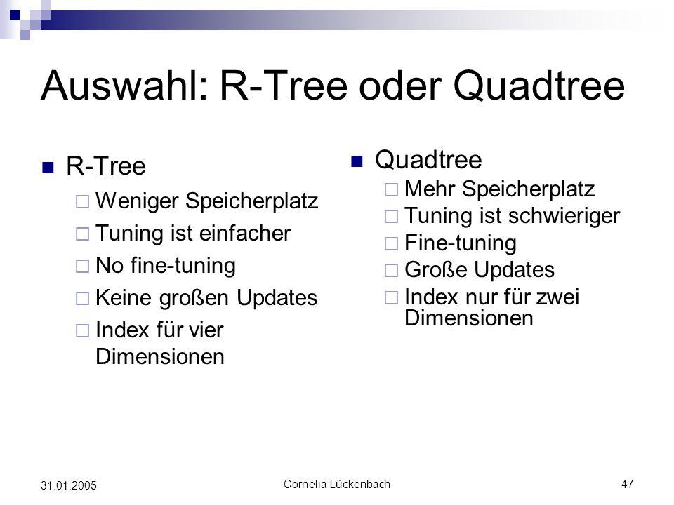 Auswahl: R-Tree oder Quadtree