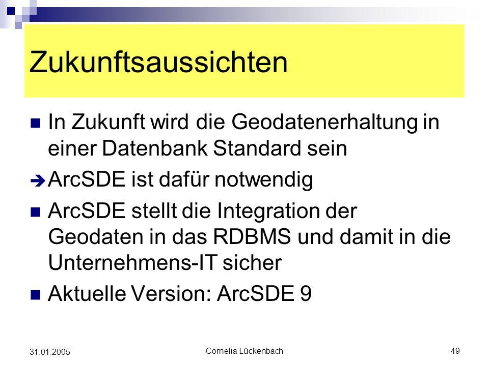 Zukunftsaussichten In Zukunft wird die Geodatenerhaltung in einer Datenbank Standard sein. ArcSDE ist dafür notwendig.