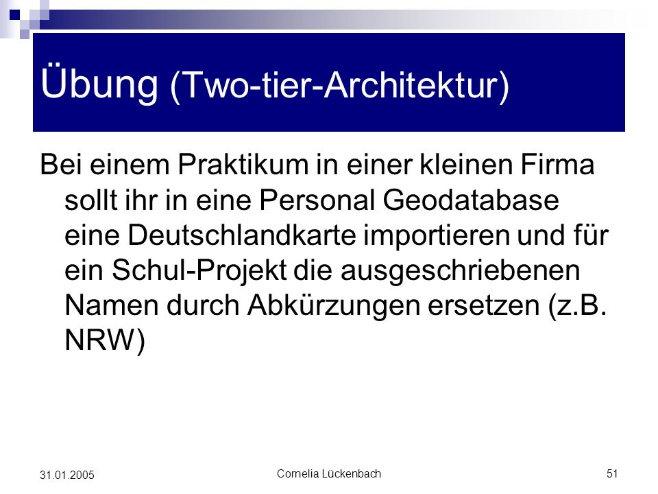 Übung (Two-tier-Architektur)