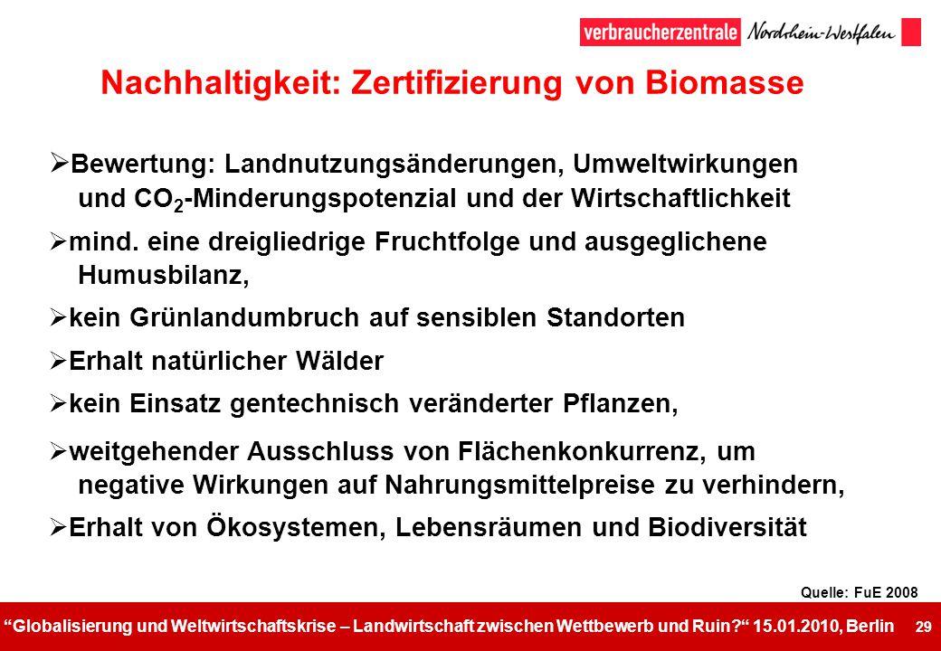 Nachhaltigkeit: Zertifizierung von Biomasse