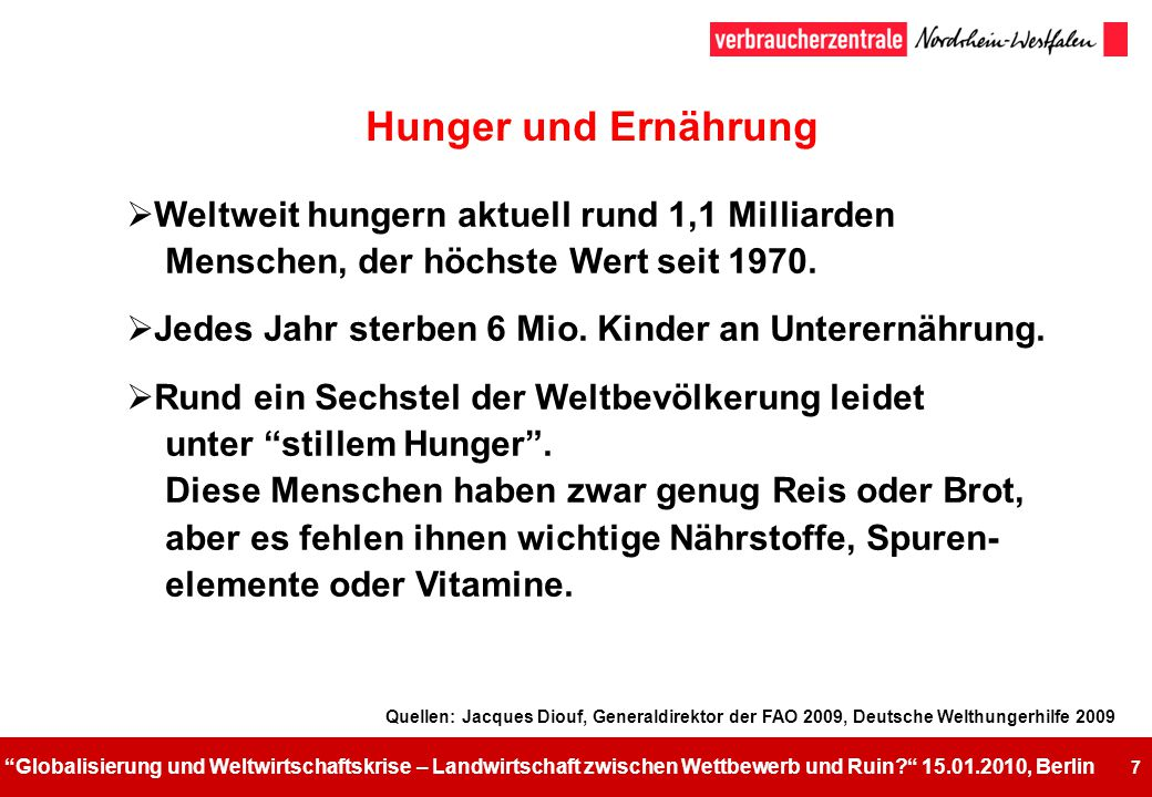 Hunger und Ernährung Weltweit hungern aktuell rund 1,1 Milliarden Menschen, der höchste Wert seit 1970.
