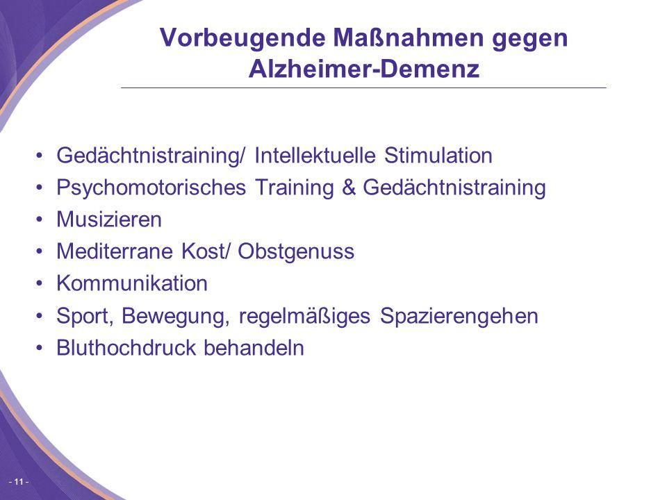 Vorbeugende Maßnahmen gegen Alzheimer-Demenz