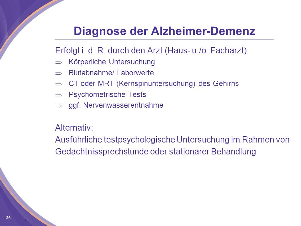 Diagnose der Alzheimer-Demenz