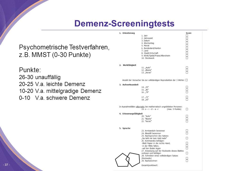 Demenz-Screeningtests