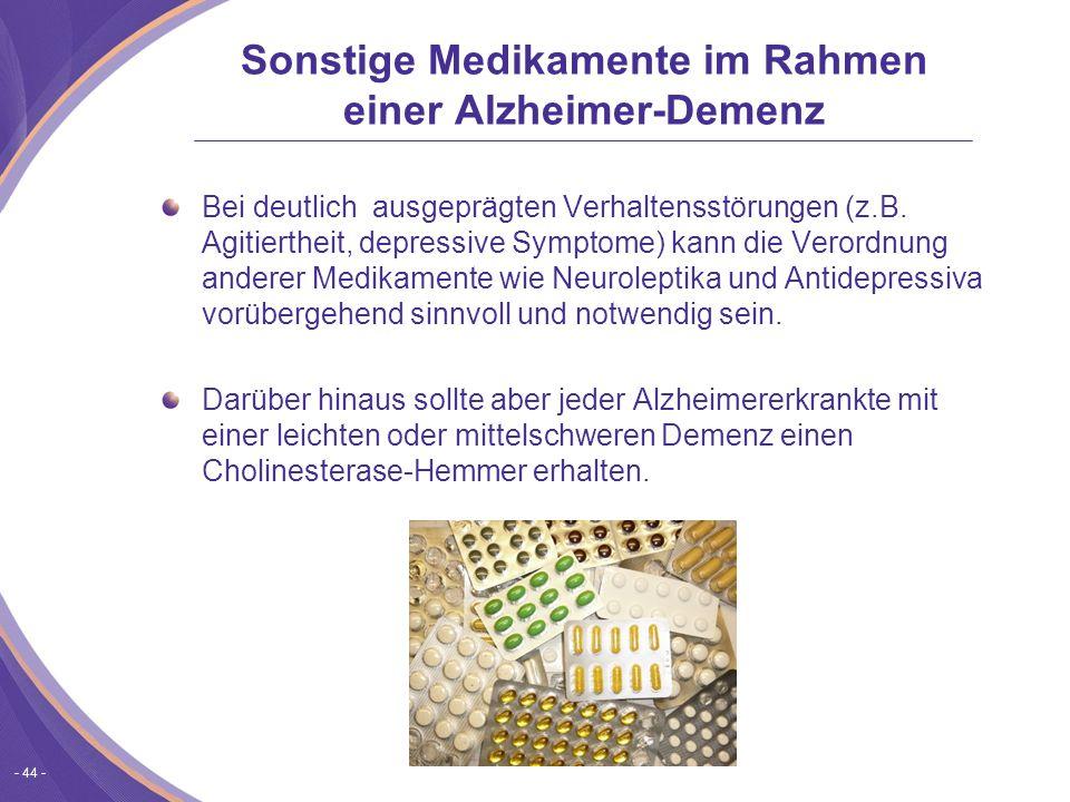 Sonstige Medikamente im Rahmen einer Alzheimer-Demenz