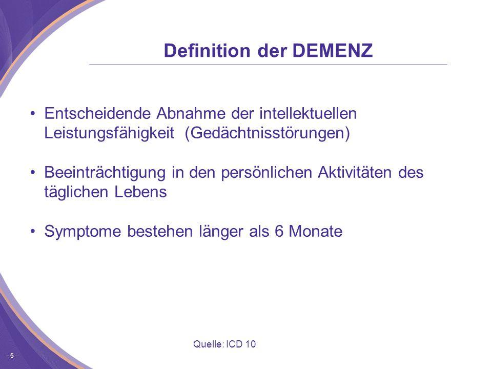 Definition der DEMENZ Entscheidende Abnahme der intellektuellen Leistungsfähigkeit (Gedächtnisstörungen)