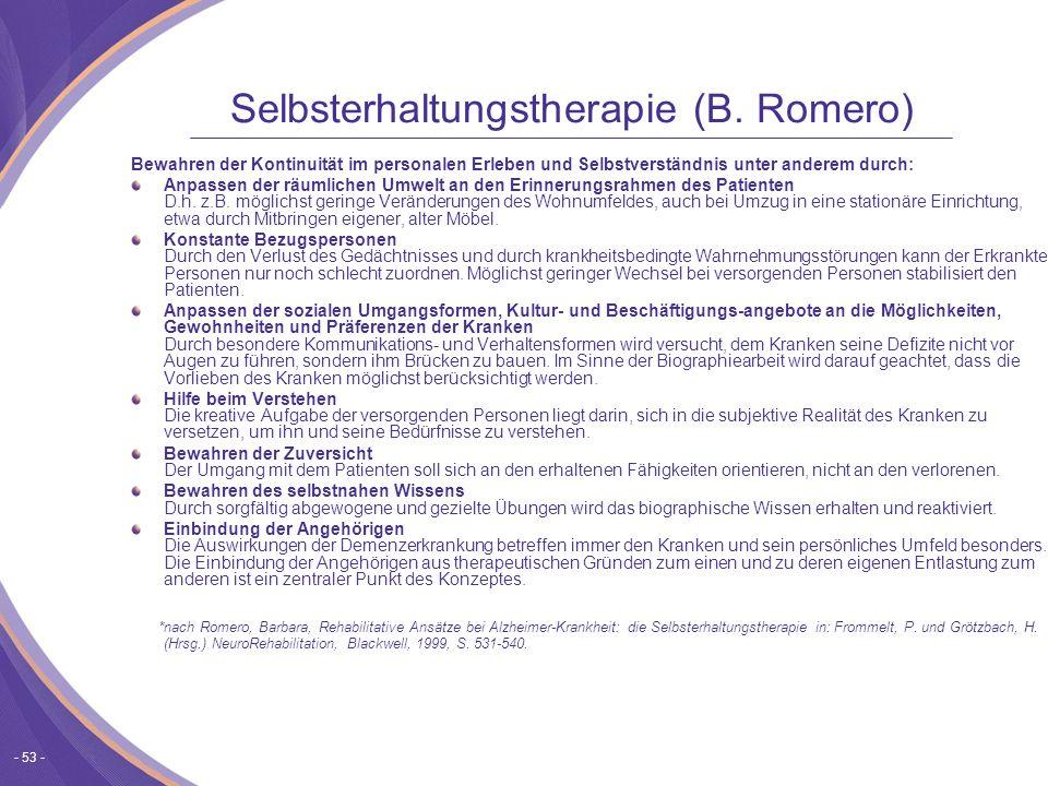 Selbsterhaltungstherapie (B. Romero)