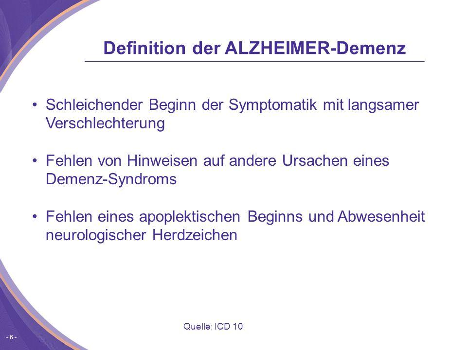Definition der ALZHEIMER-Demenz