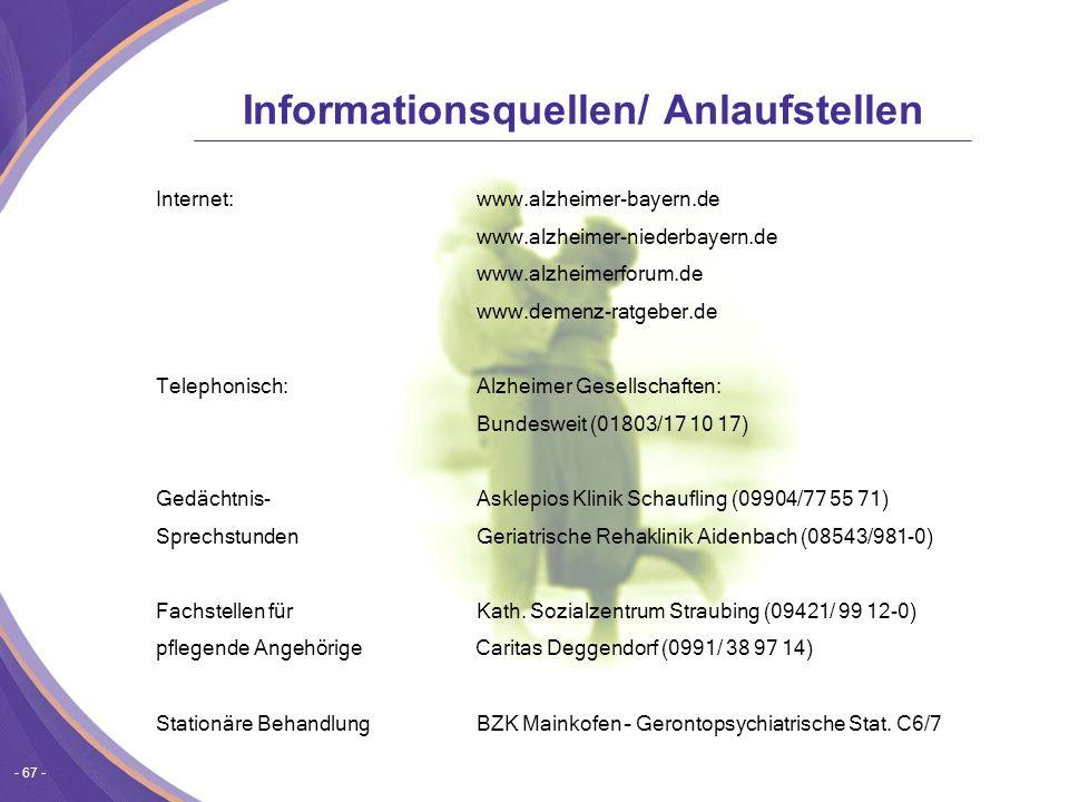 Informationsquellen/ Anlaufstellen