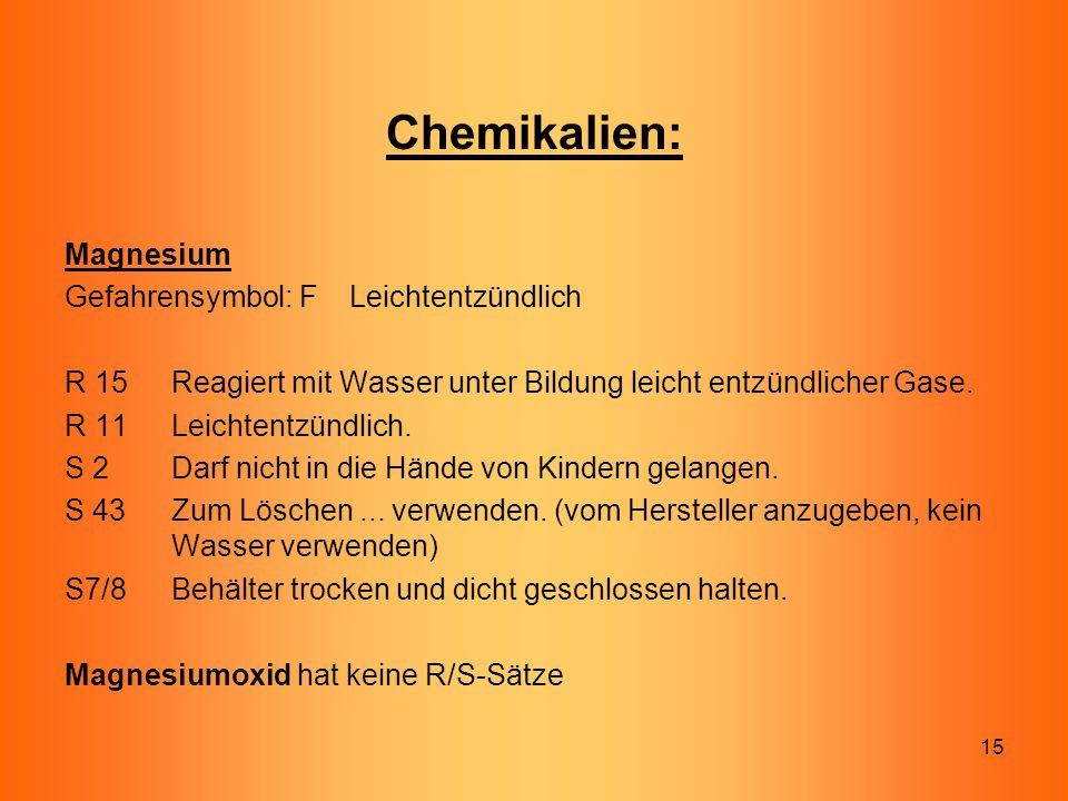 Chemikalien: Magnesium Gefahrensymbol: F Leichtentzündlich