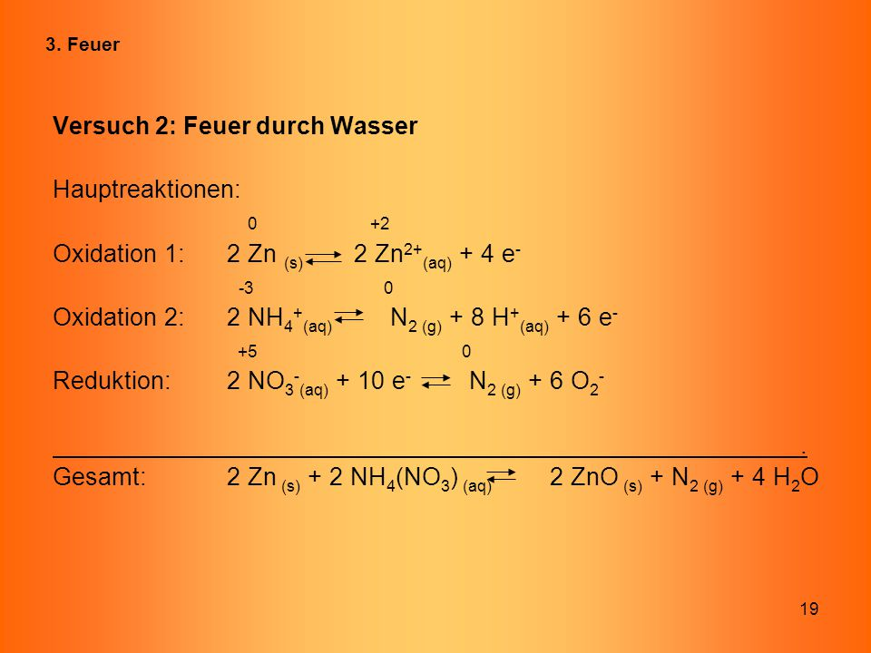 Versuch 2: Feuer durch Wasser Hauptreaktionen: 0 +2
