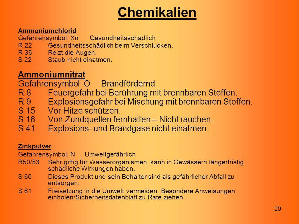 Chemikalien Ammoniumnitrat Gefahrensymbol: O Brandfördernd