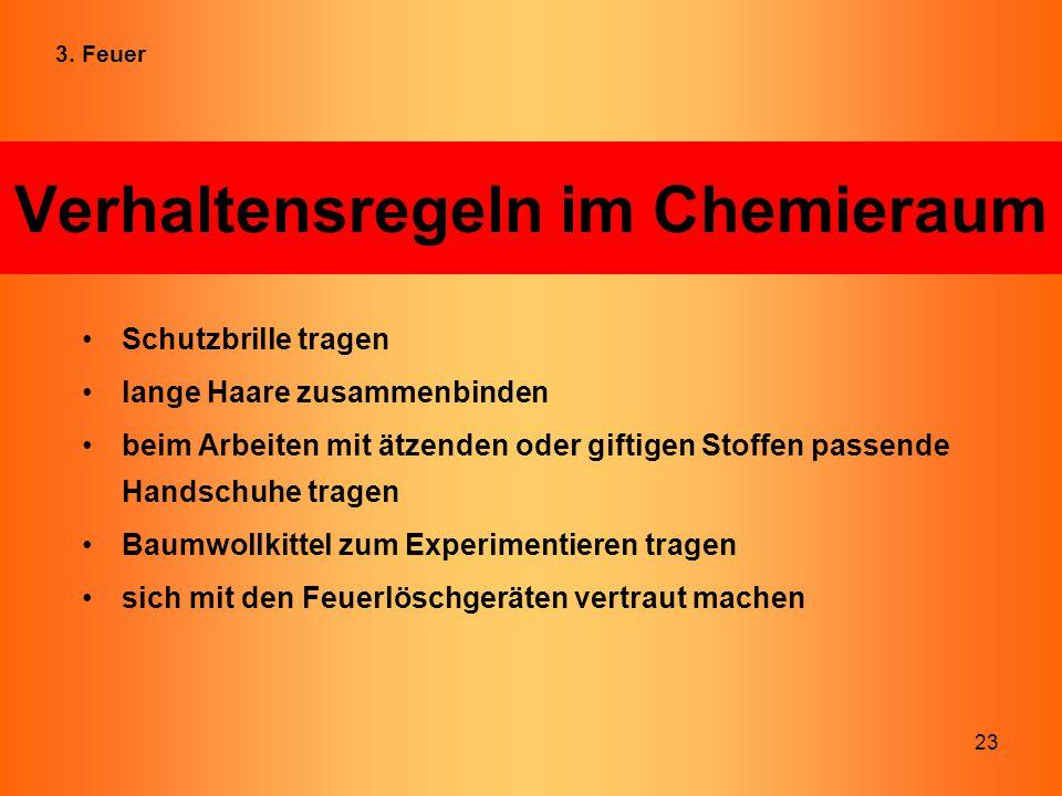 Verhaltensregeln im Chemieraum