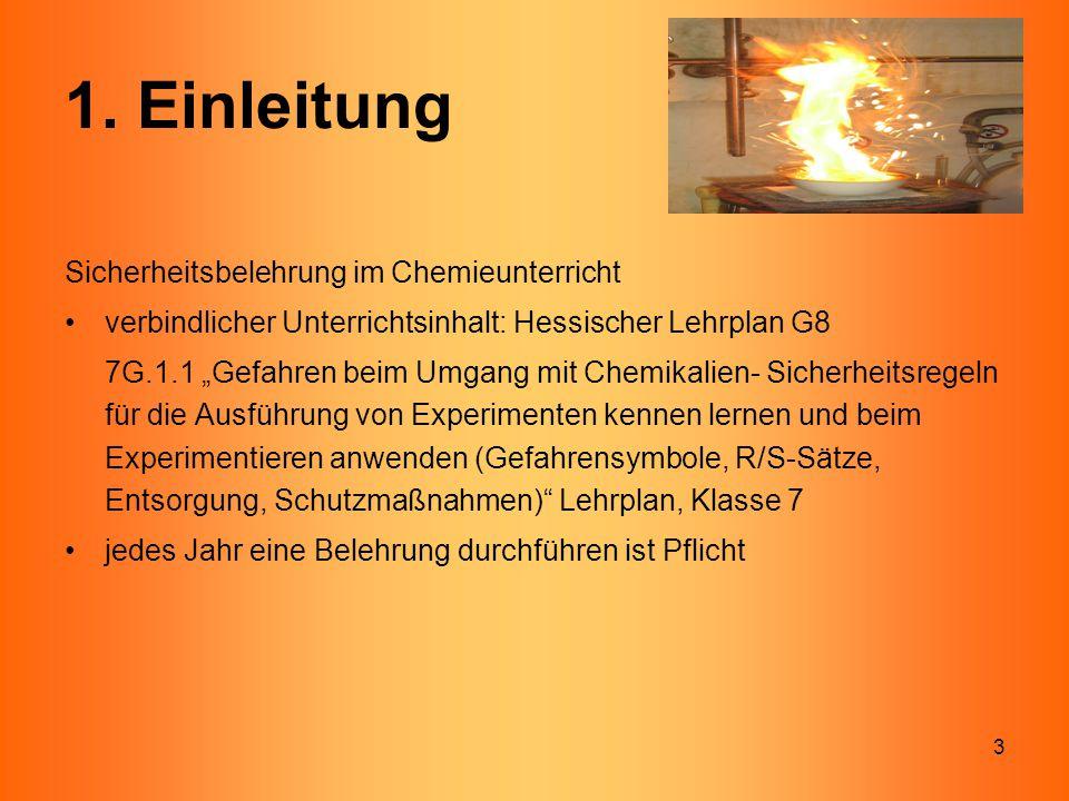 1. Einleitung Sicherheitsbelehrung im Chemieunterricht