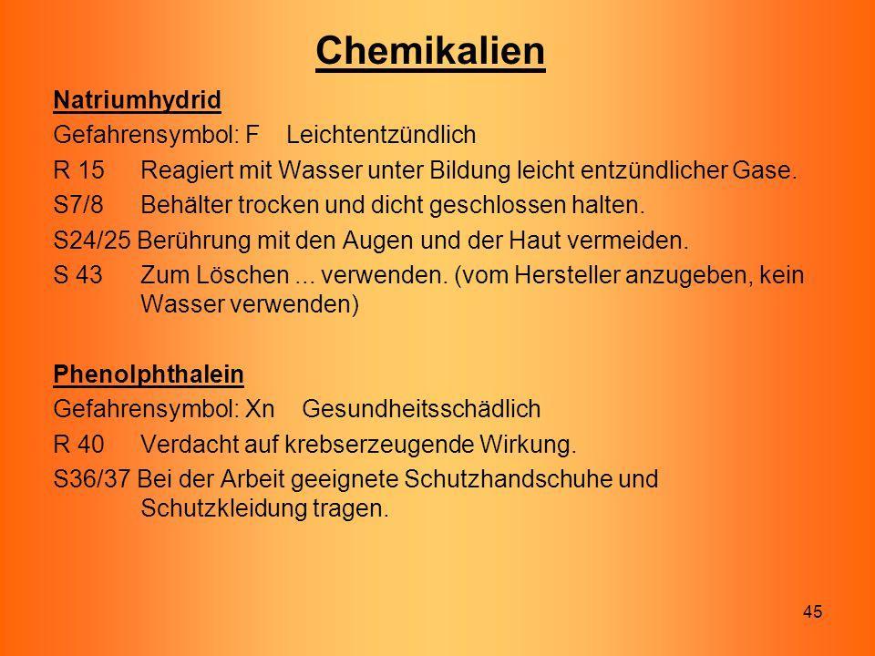 Chemikalien Natriumhydrid Gefahrensymbol: F Leichtentzündlich
