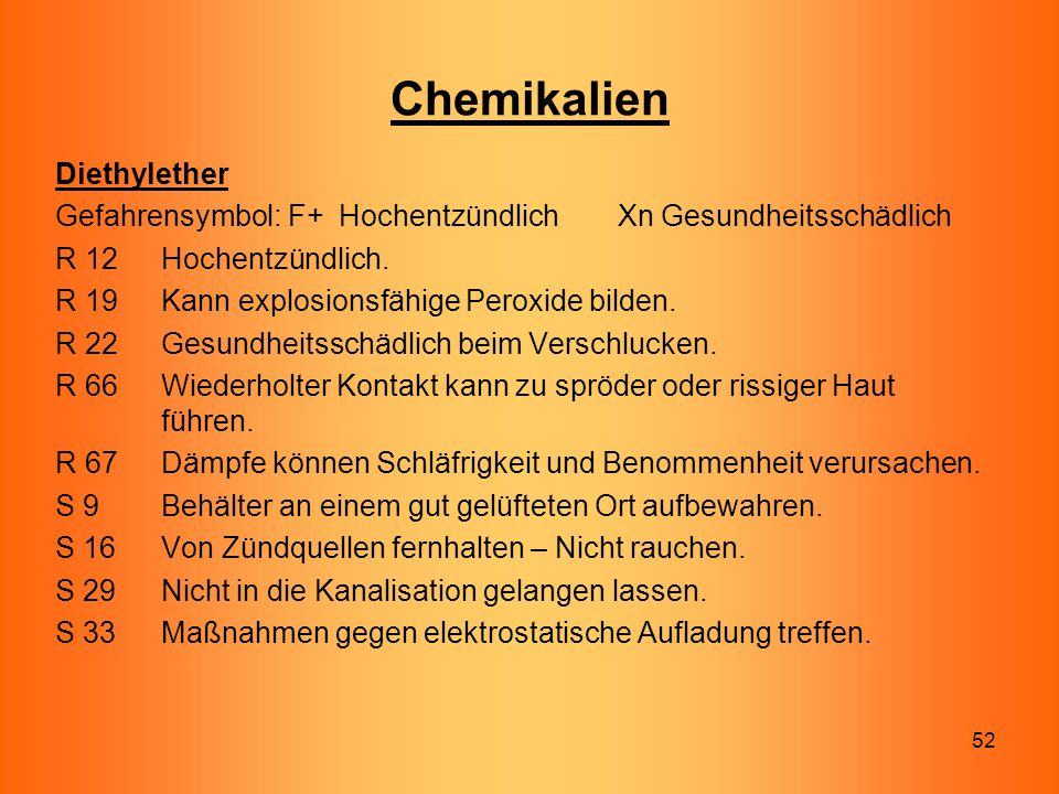Chemikalien Diethylether