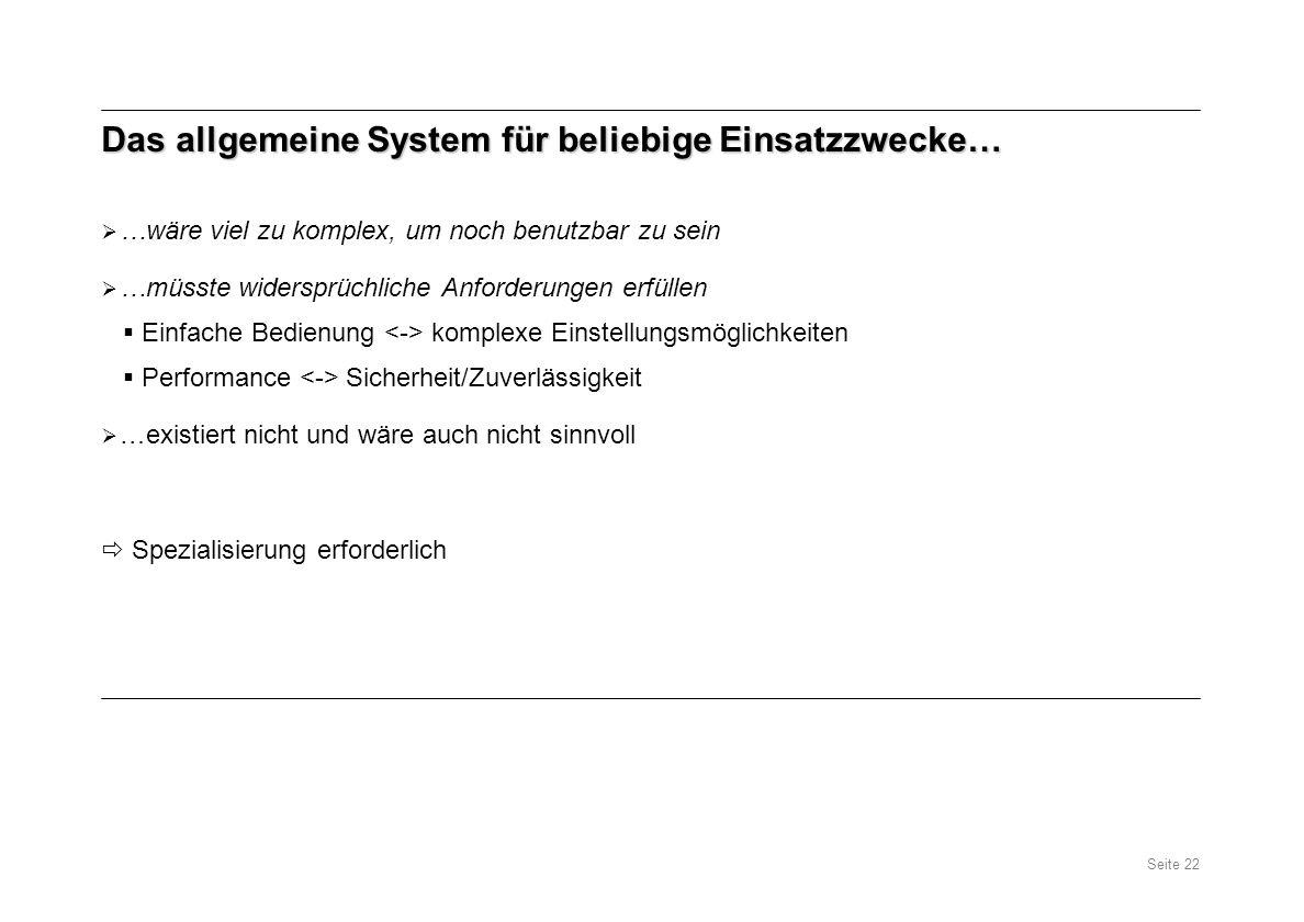 Das allgemeine System für beliebige Einsatzzwecke…