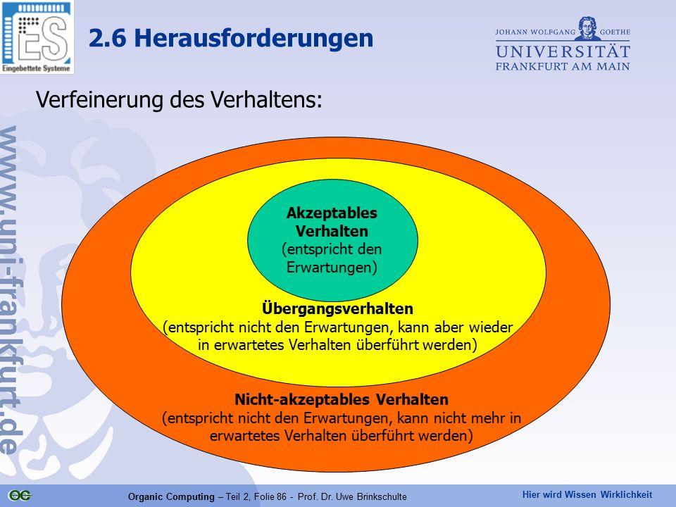2.6 Herausforderungen Verfeinerung des Verhaltens: