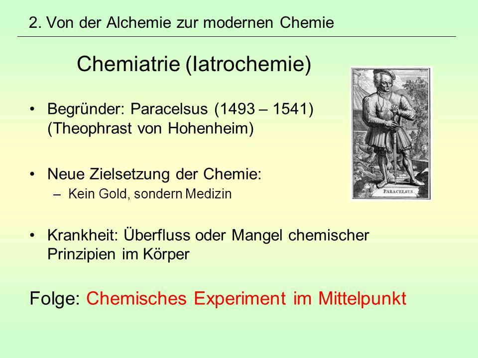 2. Von der Alchemie zur modernen Chemie Chemiatrie (Iatrochemie)