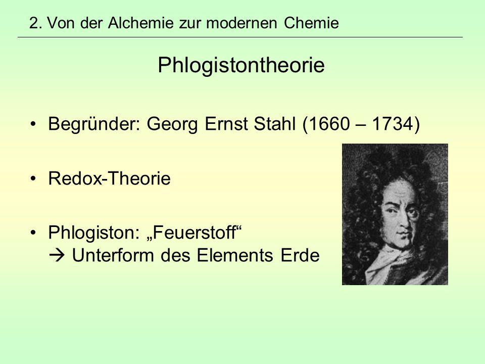 2. Von der Alchemie zur modernen Chemie Phlogistontheorie