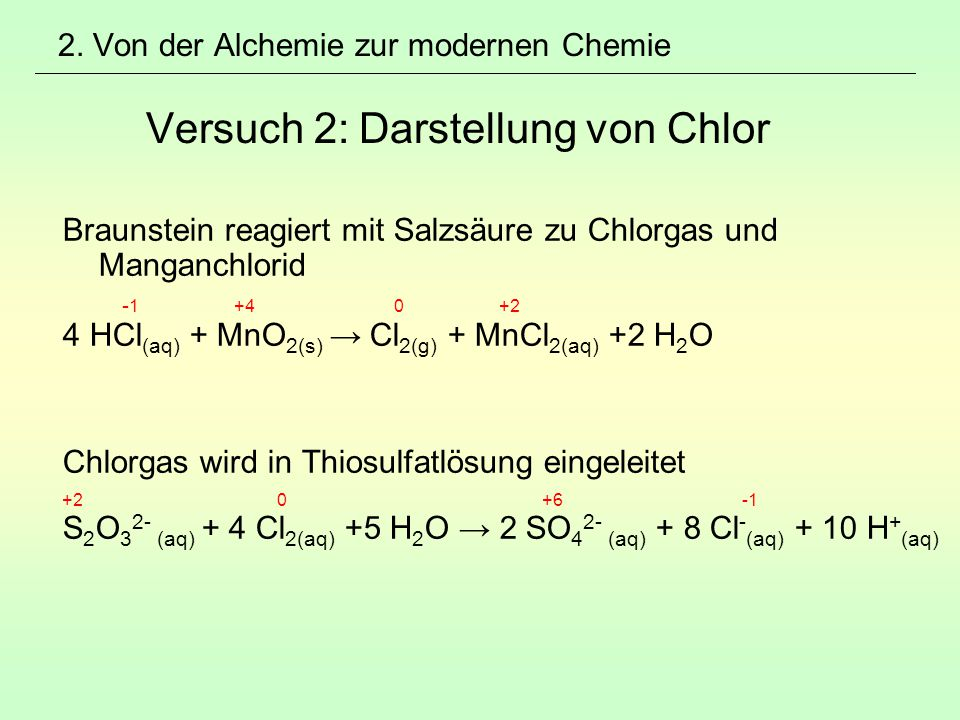 Braunstein reagiert mit Salzsäure zu Chlorgas und Manganchlorid
