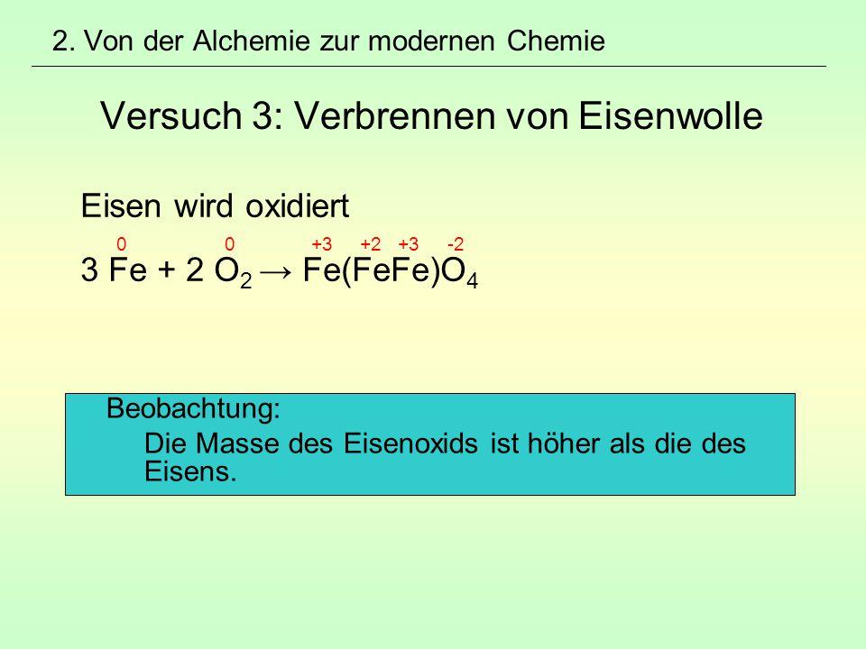 Eisen wird oxidiert 3 Fe + 2 O2 → Fe(FeFe)O4