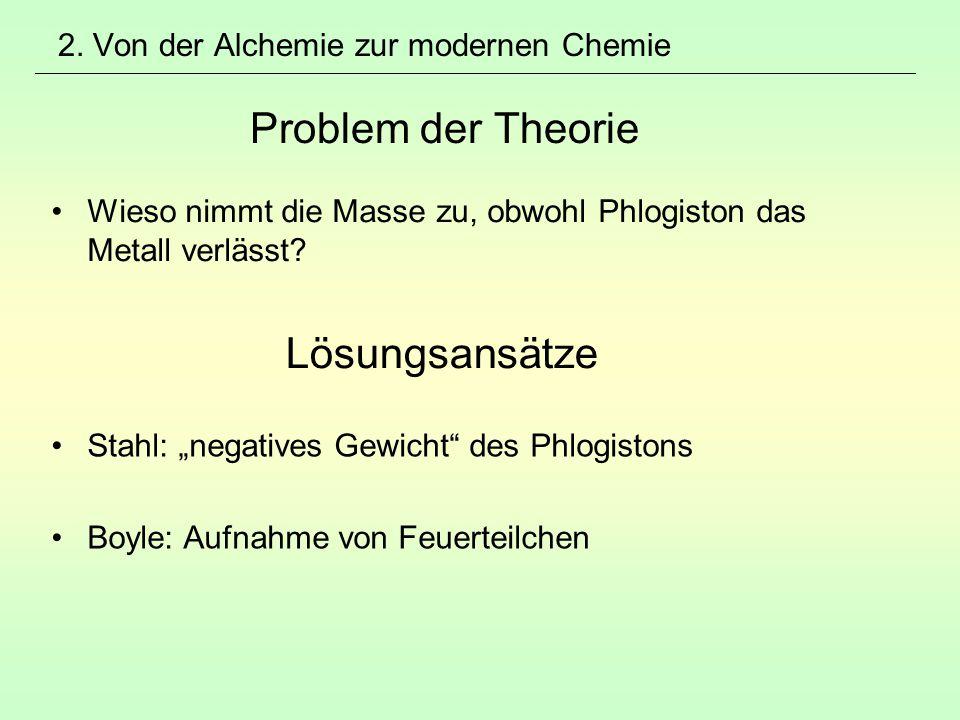 2. Von der Alchemie zur modernen Chemie Problem der Theorie