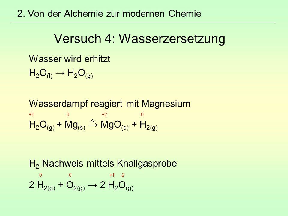2. Von der Alchemie zur modernen Chemie Versuch 4: Wasserzersetzung
