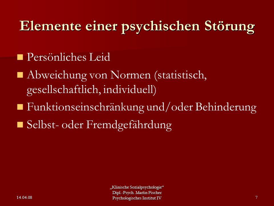 Elemente einer psychischen Störung