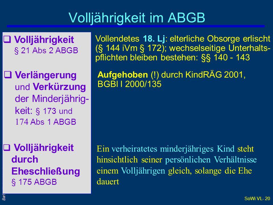 Volljährigkeit im ABGB