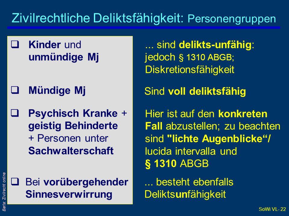 Zivilrechtliche Deliktsfähigkeit: Personengruppen