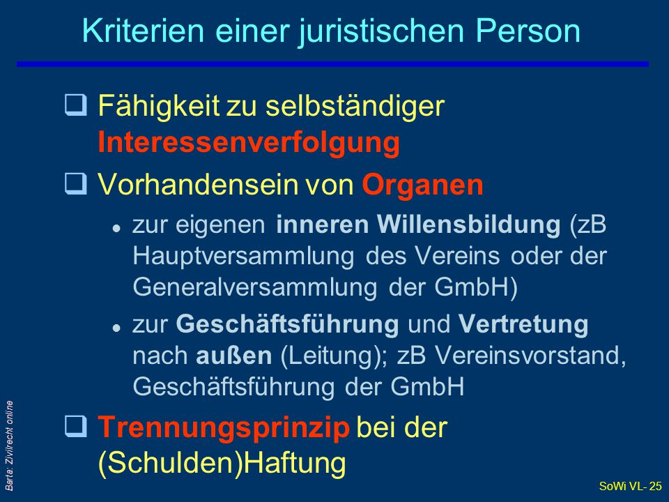 Kriterien einer juristischen Person