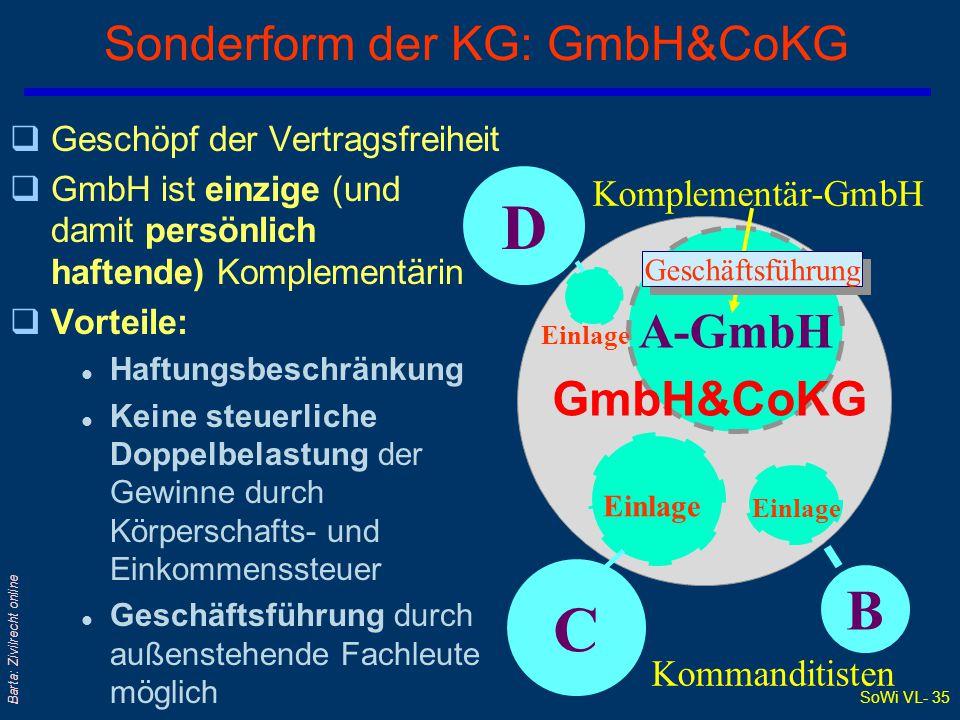 Sonderform der KG: GmbH&CoKG