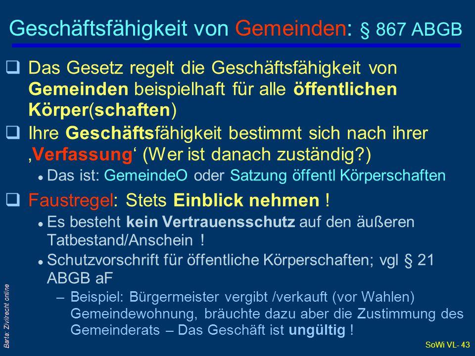 Geschäftsfähigkeit von Gemeinden: § 867 ABGB