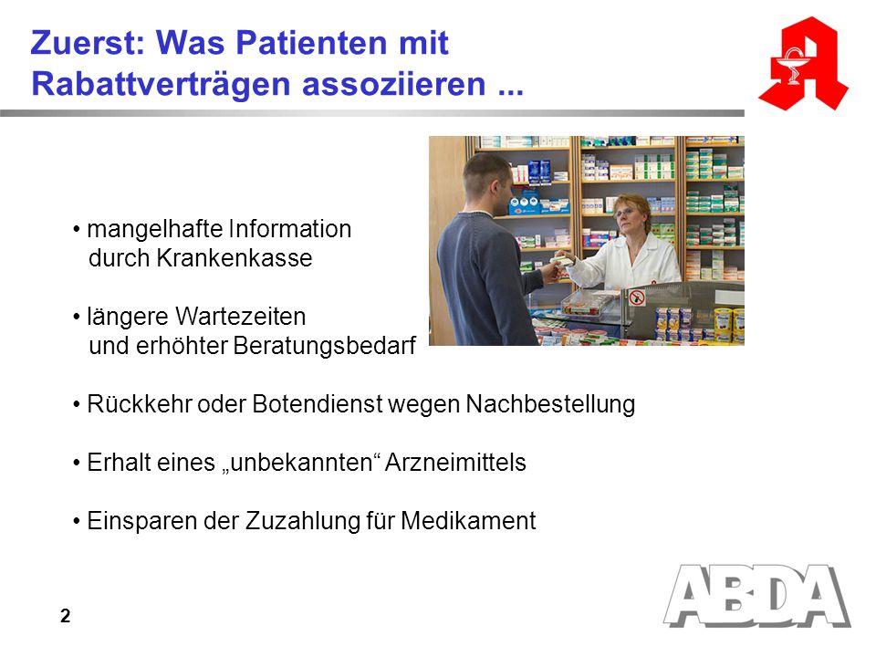 Zuerst: Was Patienten mit Rabattverträgen assoziieren ...
