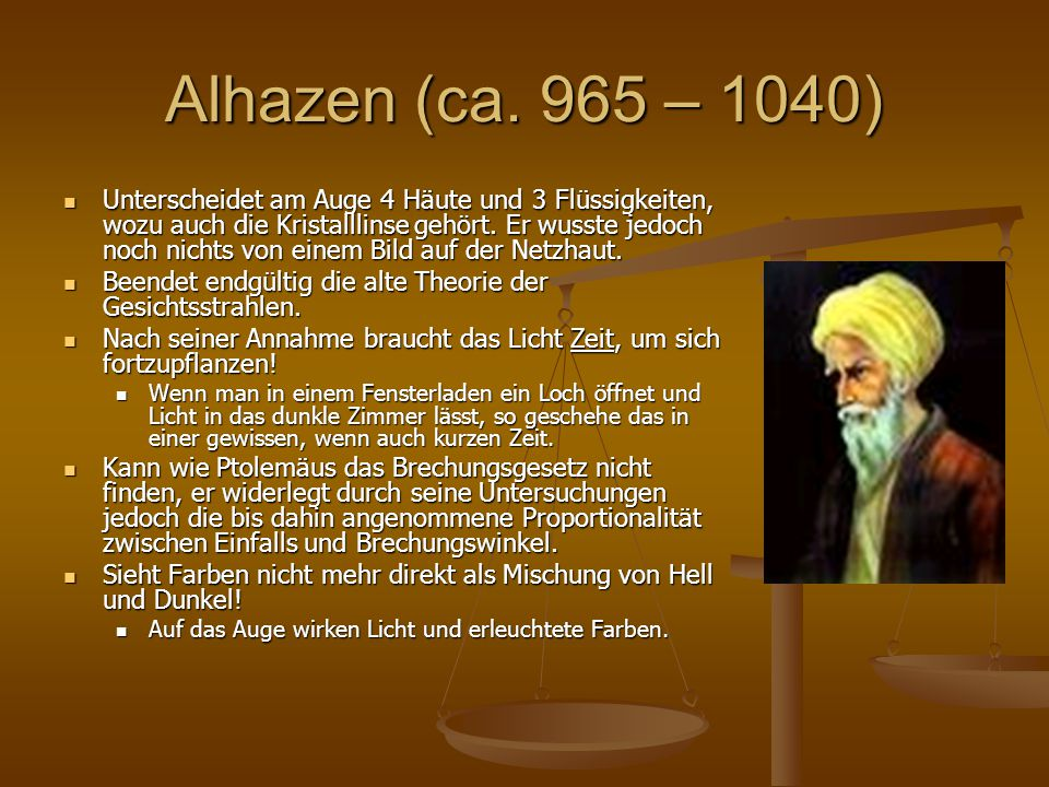 Alhazen (ca. 965 – 1040)