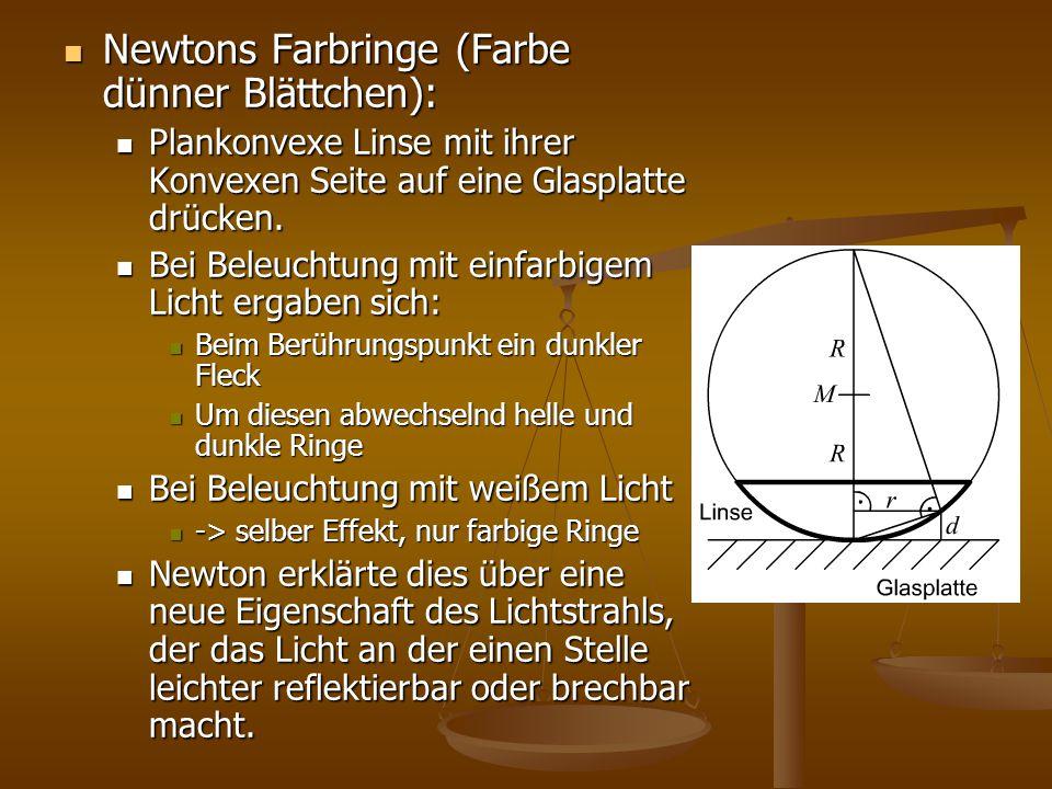 Newtons Farbringe (Farbe dünner Blättchen):