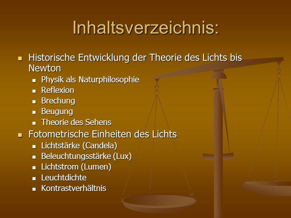 Inhaltsverzeichnis: Historische Entwicklung der Theorie des Lichts bis Newton. Physik als Naturphilosophie.