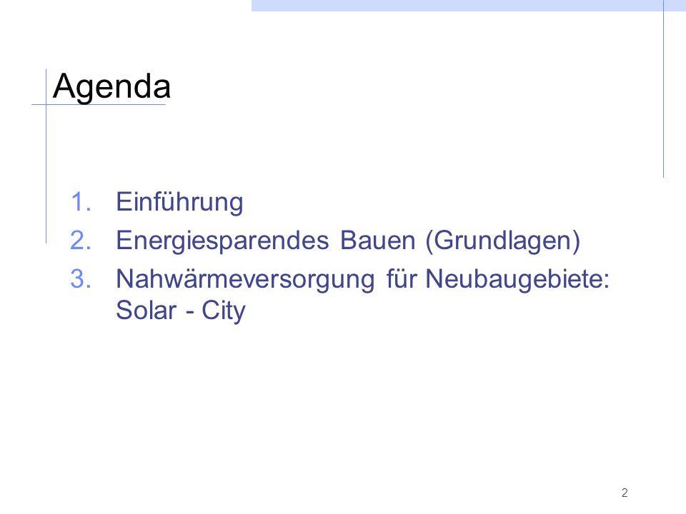 Agenda Einführung Energiesparendes Bauen (Grundlagen)
