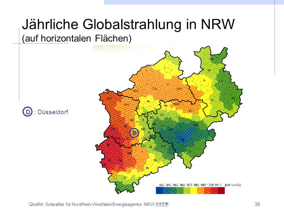 Jährliche Globalstrahlung in NRW (auf horizontalen Flächen)