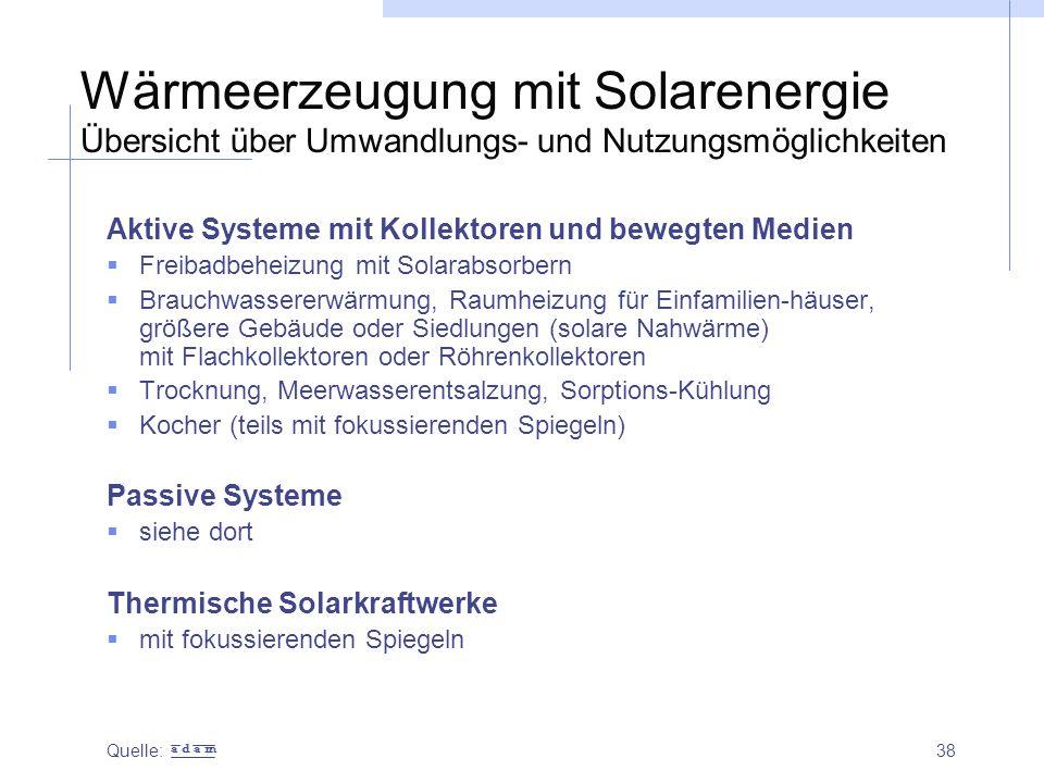 Wärmeerzeugung mit Solarenergie Übersicht über Umwandlungs- und Nutzungsmöglichkeiten