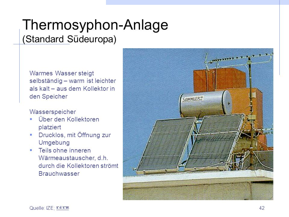 Thermosyphon-Anlage (Standard Südeuropa)