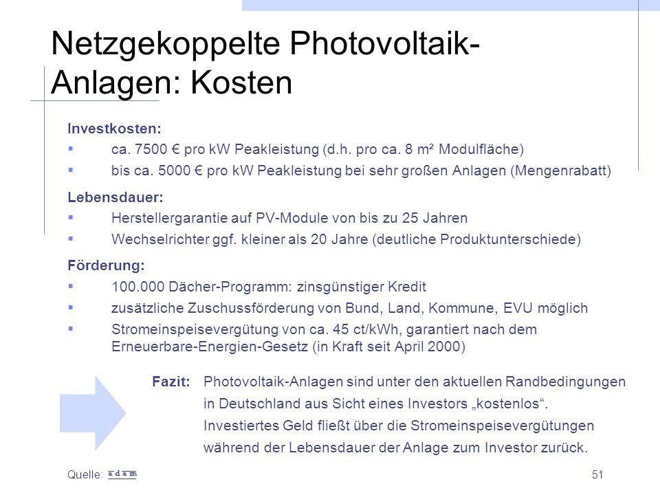 Netzgekoppelte Photovoltaik-Anlagen: Kosten