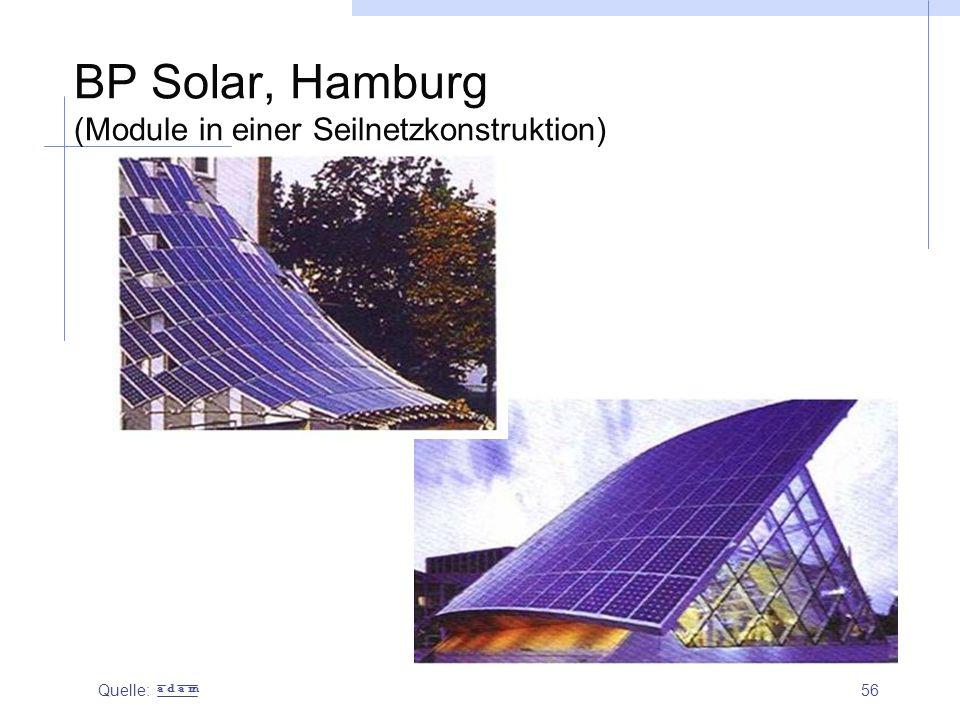 BP Solar, Hamburg (Module in einer Seilnetzkonstruktion)